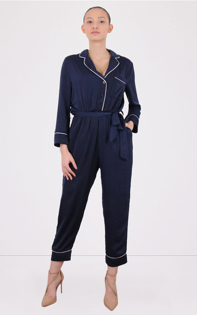 Collared Long Sleeves Satin Tie Waist Jumpsuit by MISSTRUTH