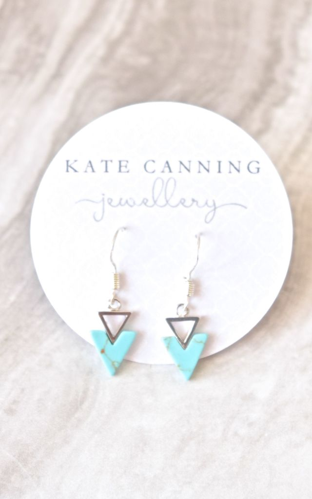 Geometric Turquoise Earrings by Kate Canning Jewellery