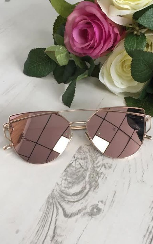 Aviator Vintage Mirrored Sunglasses - Rose Gold by AJ | VOYAGE