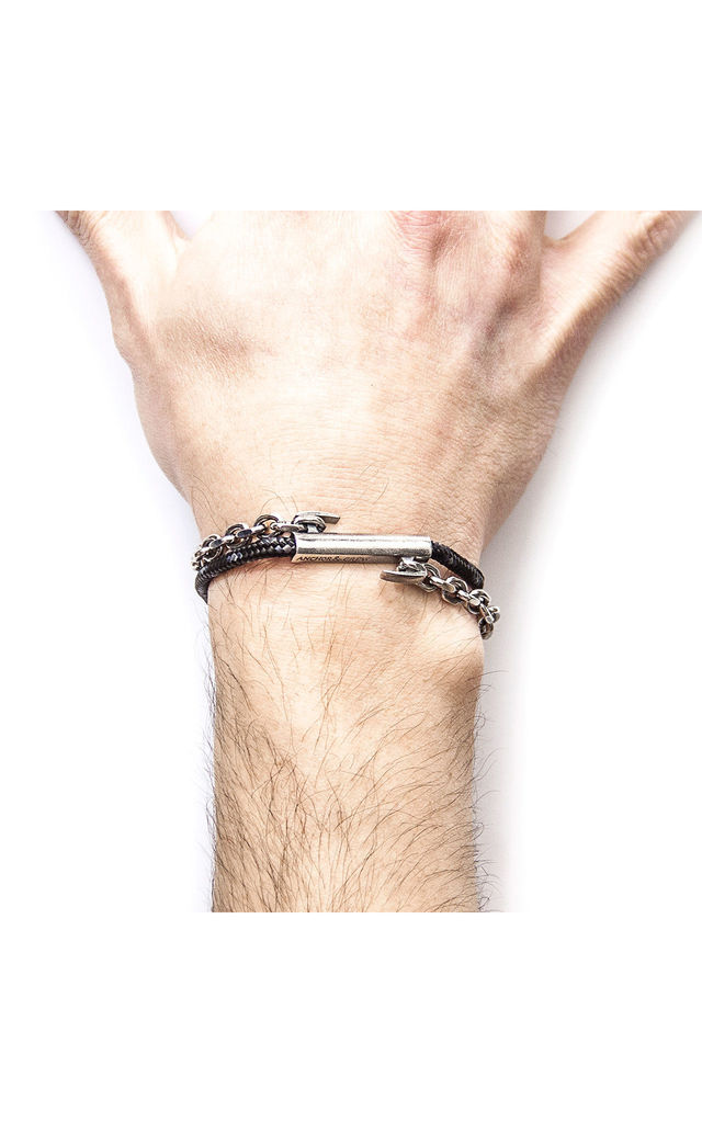 Black Belfast Silver and Rope Bracelet by ANCHOR & CREW