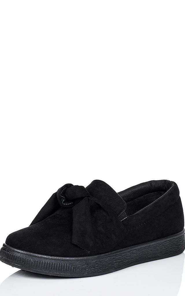 KEFIR Platform Bow Flat Loafer Shoes - Black Suede Style by SpyLoveBuy