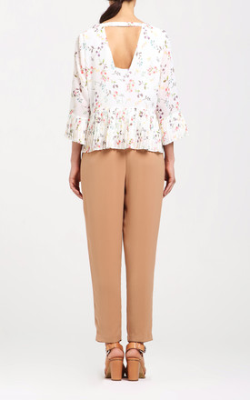 floral blouse with pleated hem and sleeves by Paisie