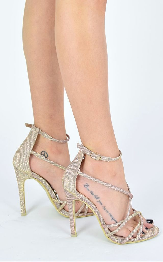 WALK WITH ME Strappy Heels - Gold Shimmer by AJ | VOYAGE