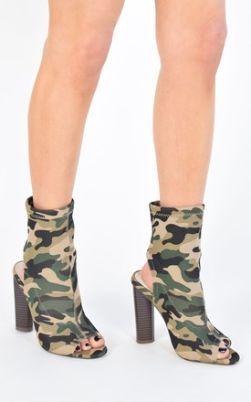Sock Fit Cut Out Ankle Boot With Wooden Heel - Camo by AJ | VOYAGE