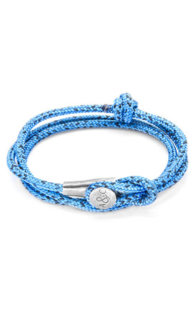 Anchor & Crew Blue Noir Dundee Silver and Rope Bracelet 7QxFg66UQ