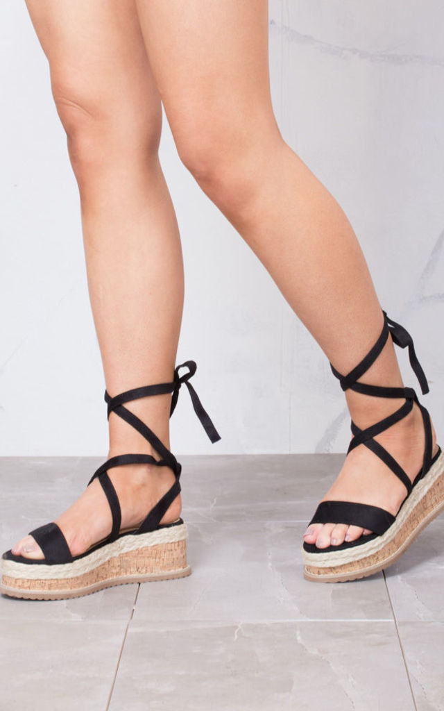 05180617ea55 Suede Lace Up Braided Cork Wedge Sandals Black by LILY LULU FASHION
