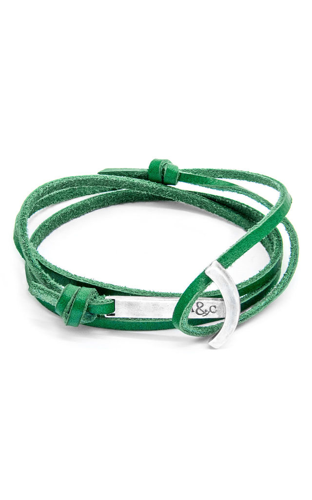 Fern Green Clipper Silver and Leather Bracelet by ANCHOR & CREW