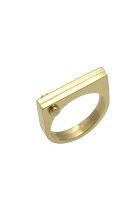 Gold D Ring by Opes Robur