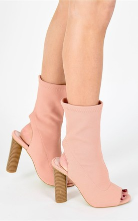 Sock fit Knit Peep Toe Ankle Boots - Blush Pink by AJ | VOYAGE