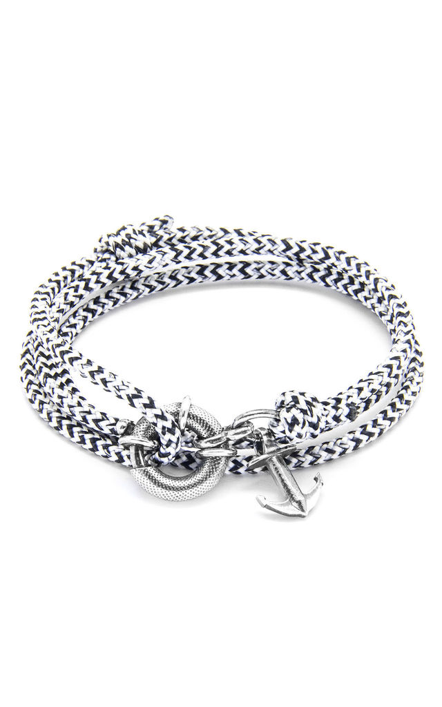 White Noir Clyde Silver and Rope Bracelet by ANCHOR & CREW