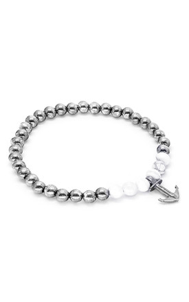 White Howlite Keel Silver and Stone Bracelet by ANCHOR & CREW