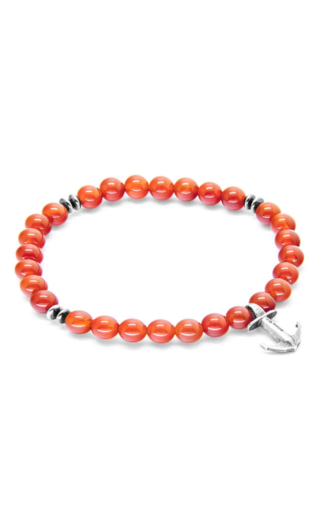 Red Carnelian Starboard Silver and Stone Bracelet by ANCHOR & CREW