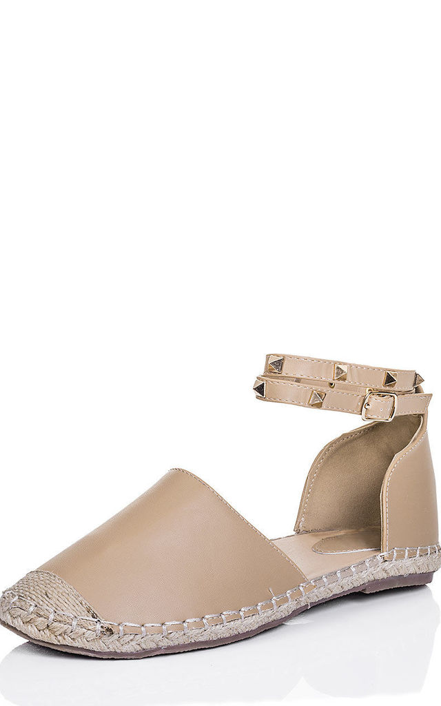 ARABELL Studded Flat Sandals Shoes - Beige Leather Style by SpyLoveBuy