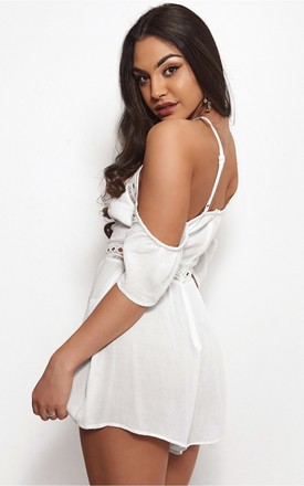 Savana Cold Shoulder White Playsuit by The Fashion Bible