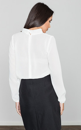V neck blouse with choker neckline in white by FIGL