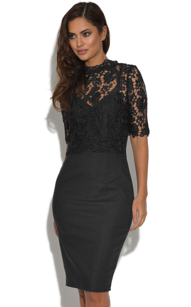 Black 2 In 1 Overlay Lace Floral Dress by Vestry