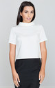 High neck crop top in white by FIGL