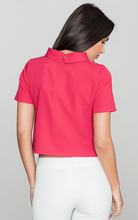 Red Short Sleeve Blouse with Turtleneck by FIGL