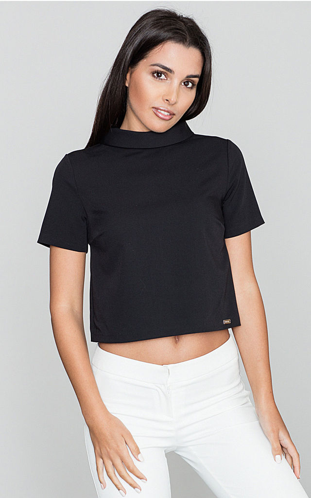 Black Short Sleeve Blouse with Turtleneck by FIGL