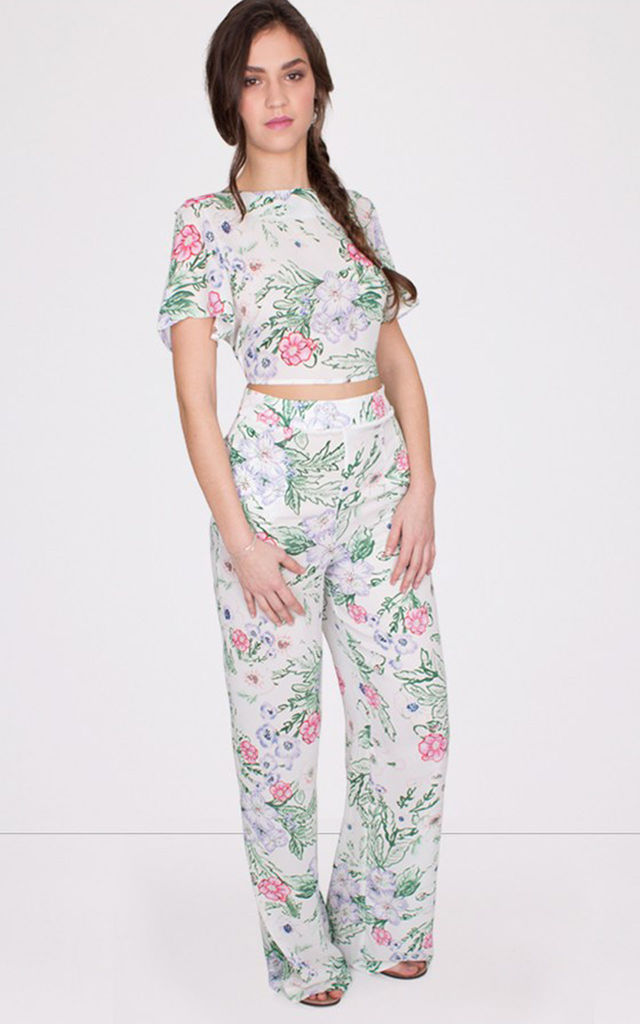 High Waist Floral Print White Palazzo Trousers by MISSTRUTH