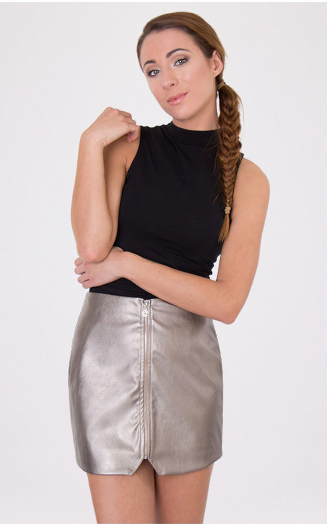 Zip Front Asymmetric Skirt Pewter by Miss Truth