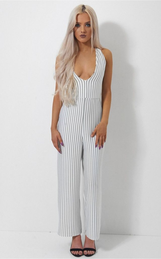 Cayla Pin Stripe Cross Back Jumpsuit by The Fashion Bible