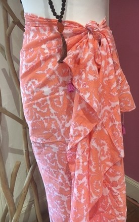 Pareo, Block printed Indian cotton. Pink and orange, tassle trimmed, extra large scarf pareo. by La Mandarine Beachwear