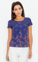 Navy Blue Floral Print Short Sleeve Blouse by FIGL