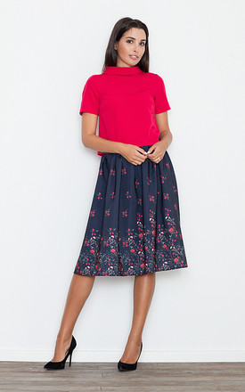Dark Grey Floral Midi Skirt by FIGL