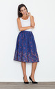 Navy Blue Floral Midi Skirt by FIGL