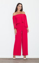 Red Off The Shoulder Jumpsuit by FIGL