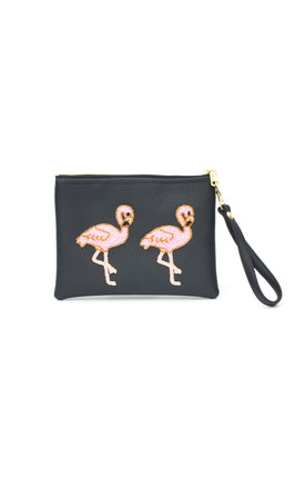 Holbox Black Flamingo Clutch by Tea & Tequila
