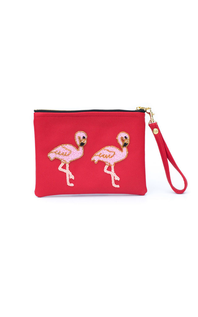 Holbox Red Flamingo Clutch by Tea & Tequila