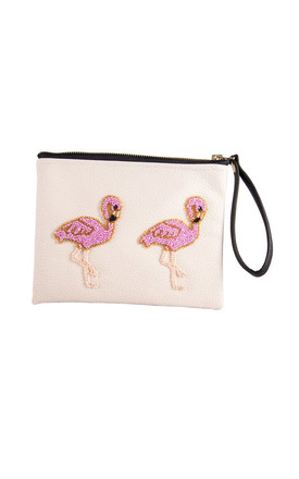 Holbox White Flamingo Clutch by Tea & Tequila