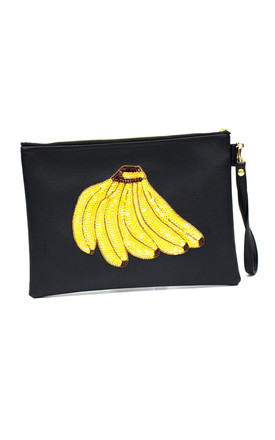 Colima Black Banana Bunch Clutch by Tea & Tequila