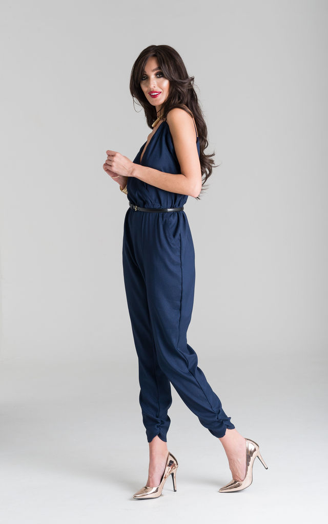 Navy Wrap Over Jumpsuit by Lady Flare
