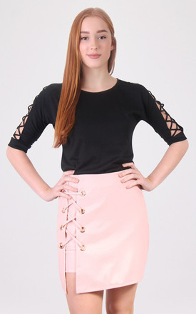 High waist Lace Up Detail Pencil Mini  Skirt by MISSTRUTH