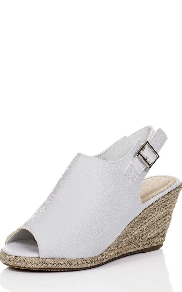 JENEVA Open Peep Toe Wedge Heel Espadrille Sandals Shoes - White Leather Style by SpyLoveBuy