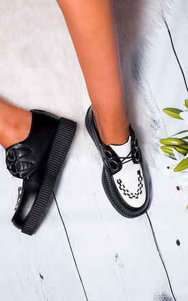 JOSEPHINE Lace Up Platform Flat Creeper Shoes - Black White Leather Style by SpyLoveBuy