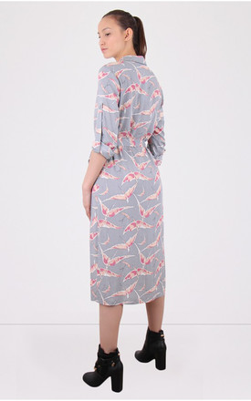 Collared Grey Print Button Down Shirt Dress by MISSTRUTH