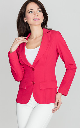 Red Fitted Waist Classic Blazer Jacket by LENITIF