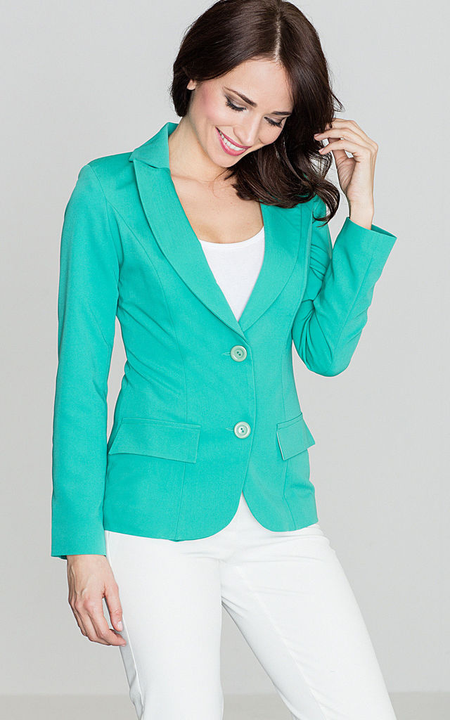 Sea Green Fitted Waist Classic Blazer Jacket by LENITIF