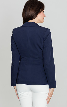 Navy Blue Fitted Waist Classic Blazer Jacket by LENITIF