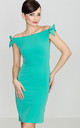 Sea Green Dress with Bows on the Shoulders by LENITIF