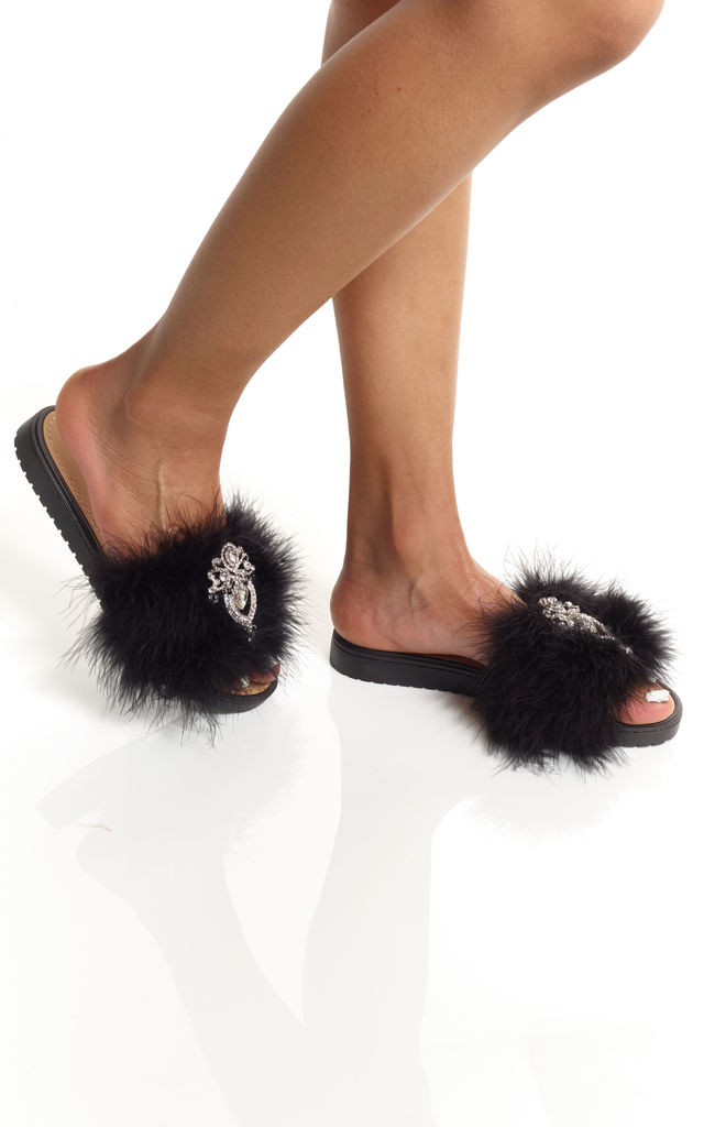 Black Crystal Feather Slides by Pommy Shoes