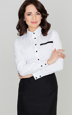 White Fitted Waist Shirt with Contrast Details by LENITIF