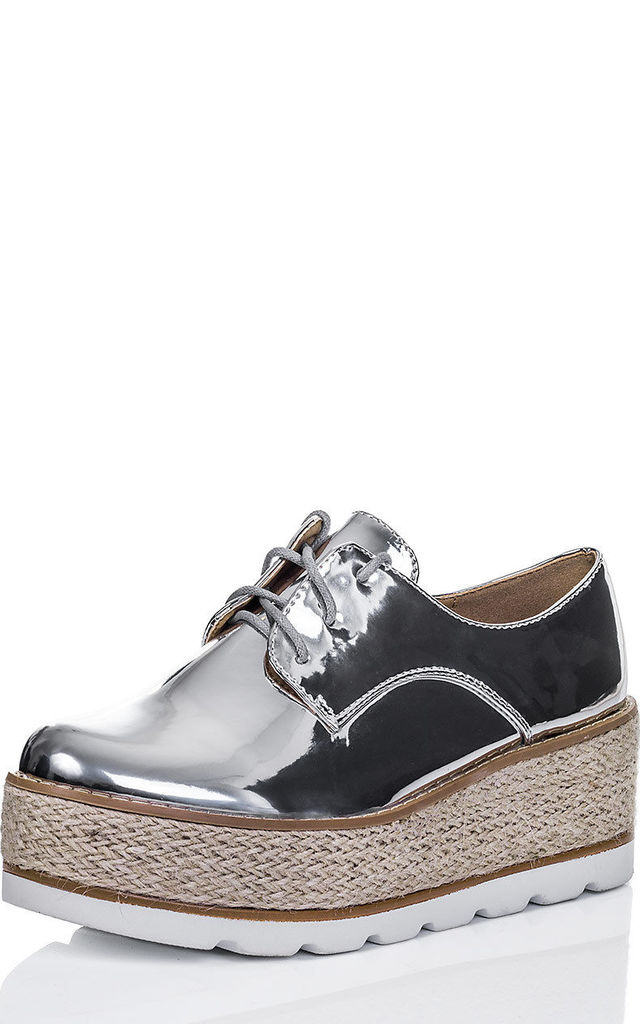 AIMEE Lace Up Platform Wedge Heel Espadrille Loafer Shoes - Silver Mirror Patent by SpyLoveBuy