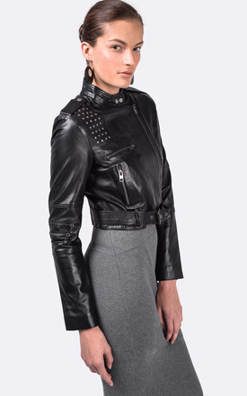 Black M3 Cropped Leather Jacket by VIPARO