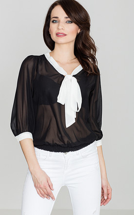 Black Tie-up Bow Blouse by LENITIF
