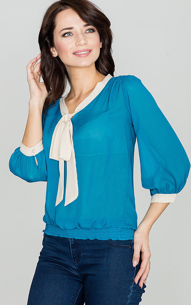 Sea Blue Tie-up Bow Blouse by LENITIF